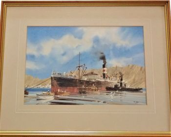 ss Recorder, Charente Steamship Company, working cargo at Muscat, c1948, watercolour, signed K. Glen. c1985.