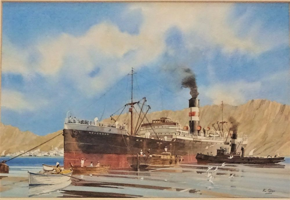 Cargo ship working cargo at Aden, watercolour painting.