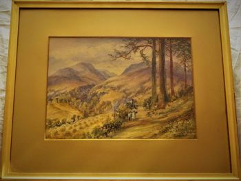 From Crieff - Looking towards Ochtertyre House Glen Farritt, Perth and Kinross, watercolour, signed Mary Weatherill. c1880.