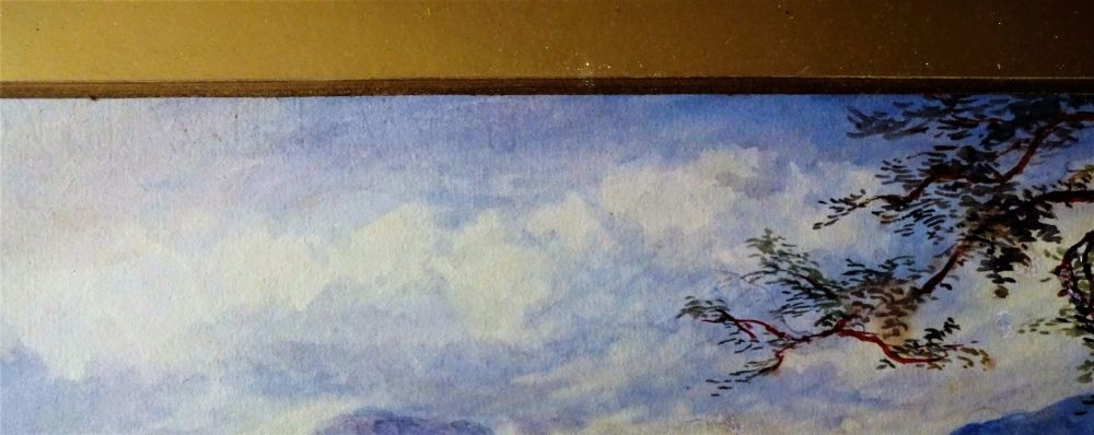 Watermark on base can be seen along upper edge below painting.