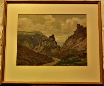 Rocky Coastal Road, Church and Sea, gouache on paper, signed Dudley Tennant, c1930. Framed.