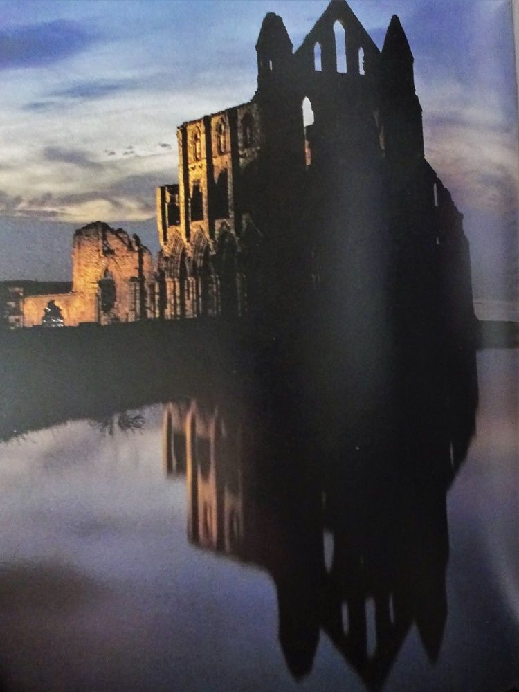 Whitby Abbey in shadow.