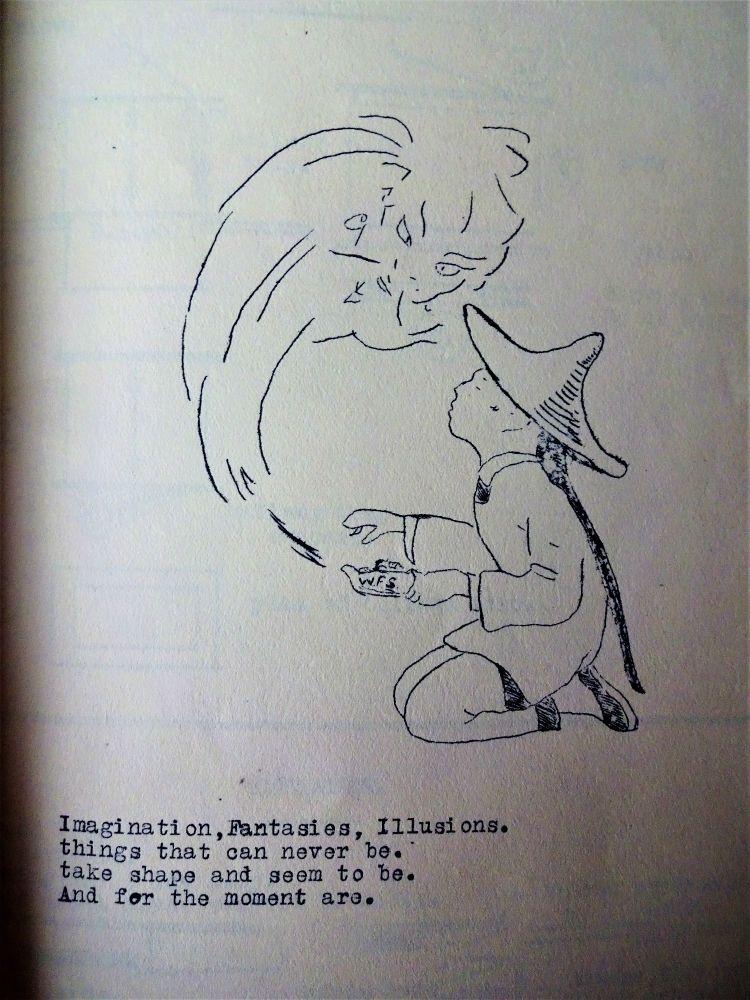 Drawing of Chinaman (WFS) with magic lantern.