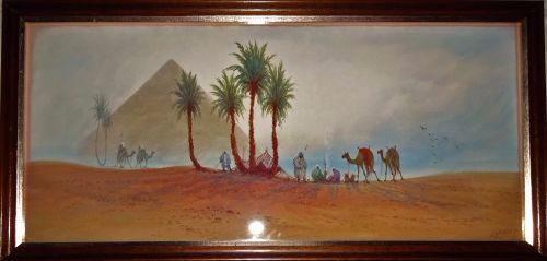 Pinder, DH. Bedouin Camp near Pyramids. Watercolour,. signed c1919.