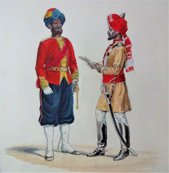 Duke of Connaught's Own 7th Bengal Native Infantry, 1st Bengal Cavalry 1890. Watercolour, unsigned. c1925.  Framed.