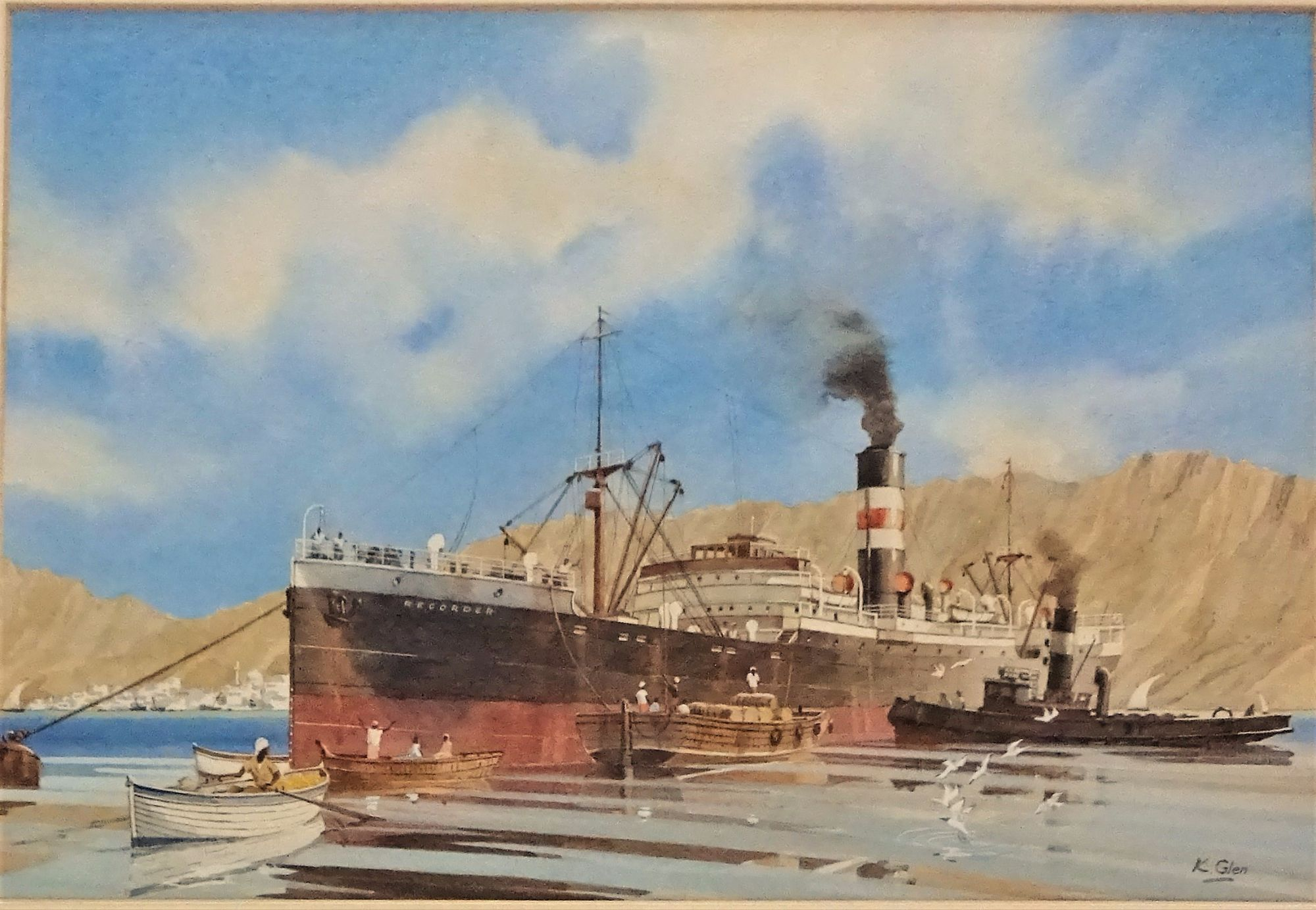 ss Recorder, Muscat, watercolour, signed K. Glen c1985.
