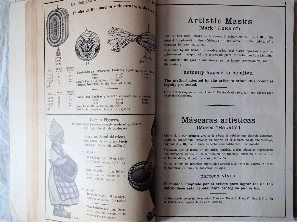 Sample page of Catalogue 1938