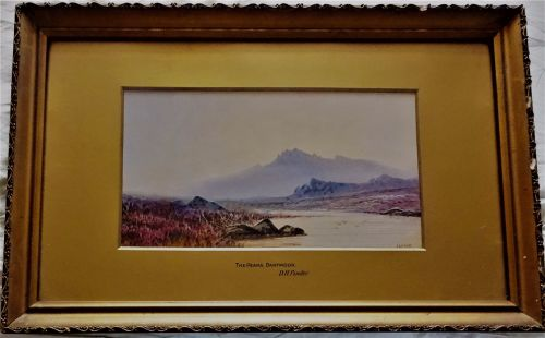 The Peaks, Dartmoor, watercolour and gouache, signed D.H. Pinder. c1920. Fr