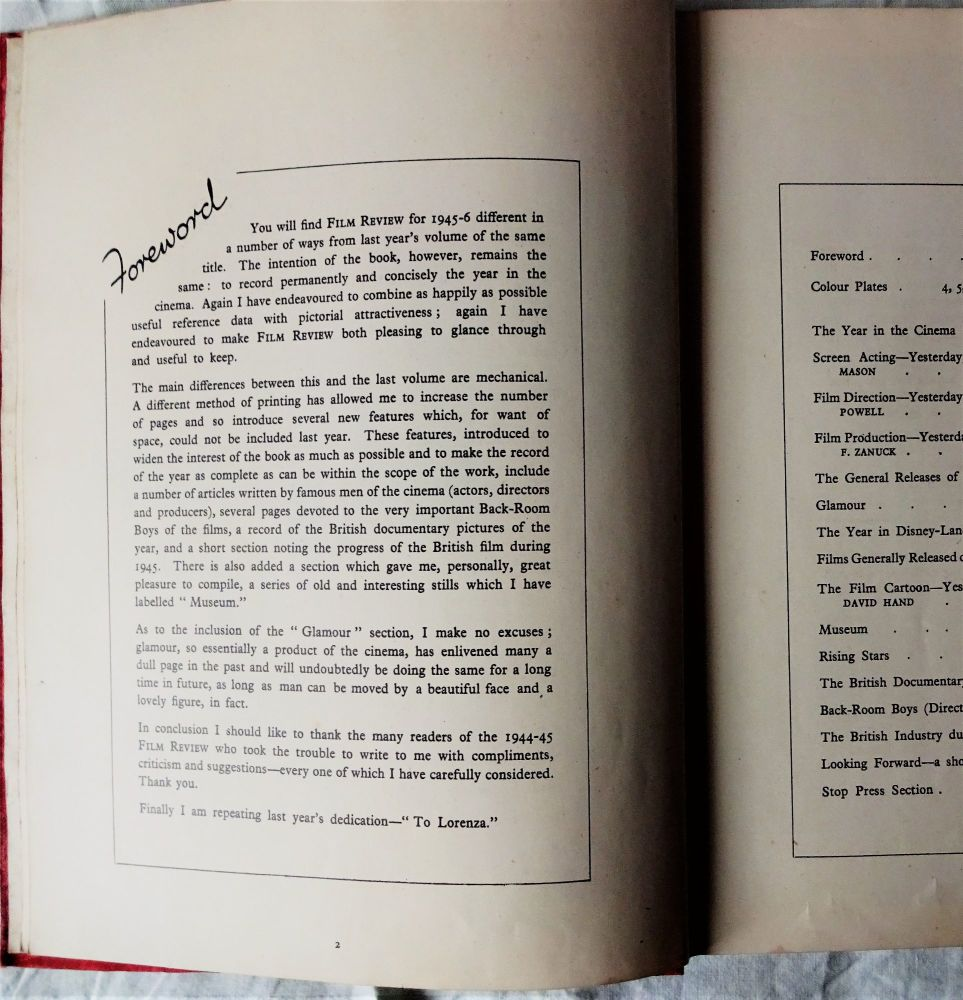 Foreword/Contents p2-3 Film Review 1945