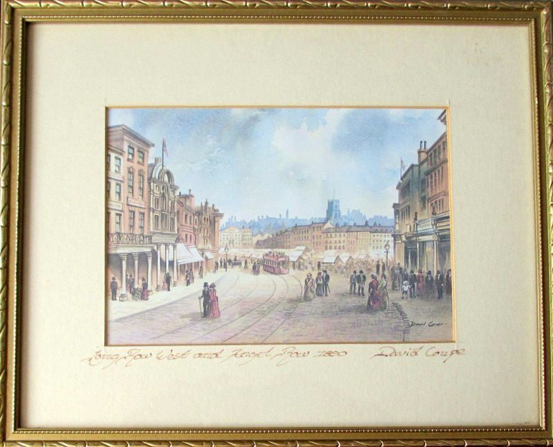 David Coupe, Old Market Square Nottingham 1890, print. c1990, inscribed.