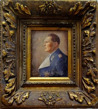 Hermann Goering, portrait, oil on panel, signed D Spahn. Decorative gilt Gesso frame. c1938.    SOLD  19.06.2019