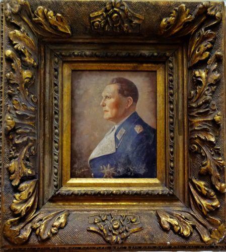 Hermann Goering, portrait, oil on panel, signed D Spahn. Decorative gilt Ge