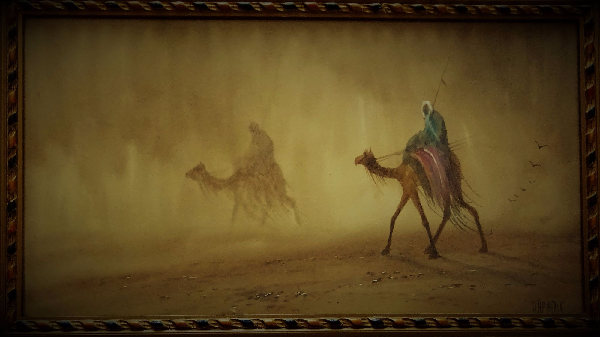 DH Pinder, Riders in Desert Sandstorm, watercolour and gouache, c1920.