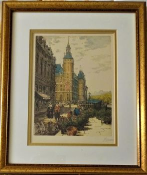 Flower Market off Pont Neuf, Paris, aquatint etching, signed Baron in pencil, c1920. Framed.