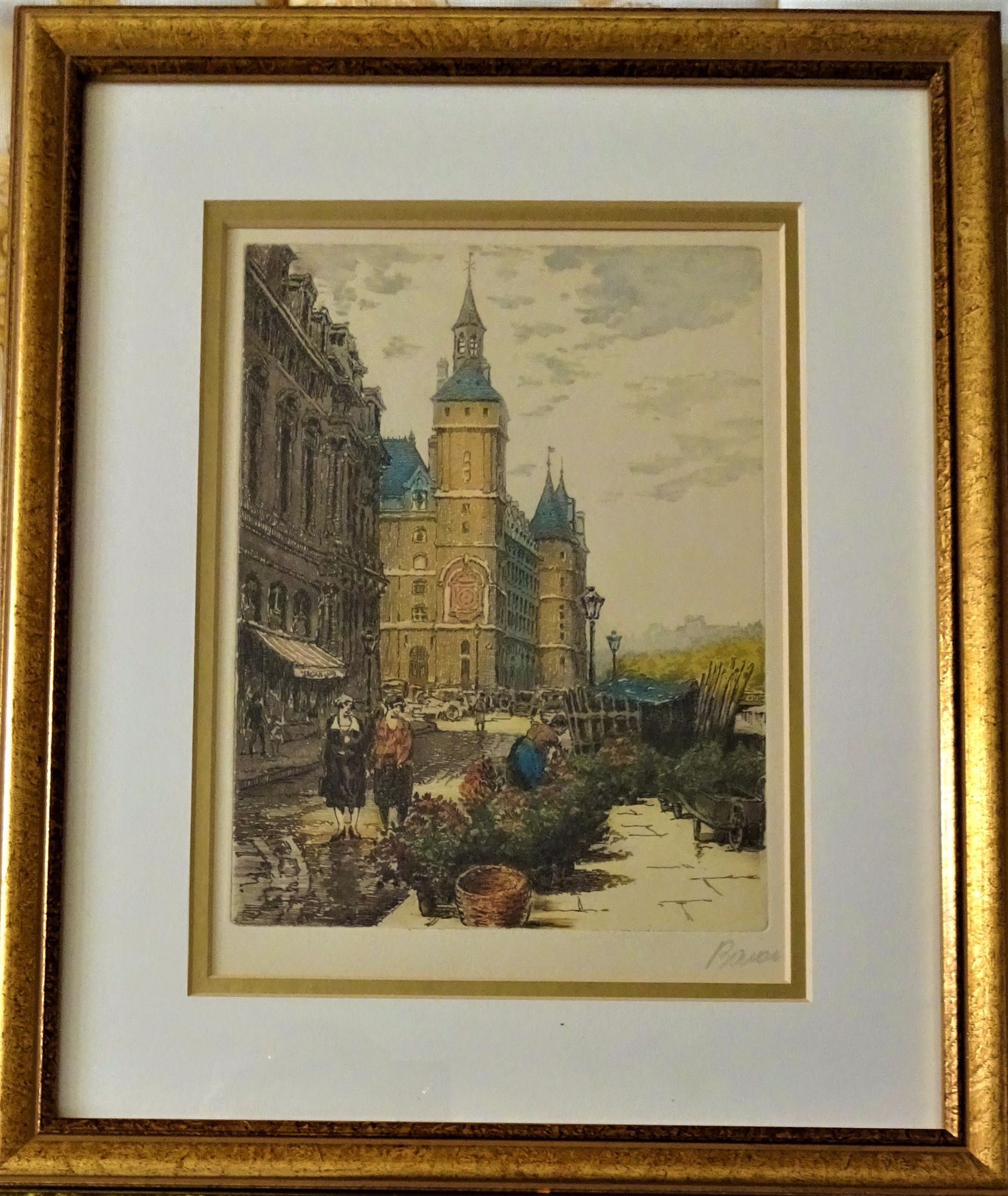 Baron, Flower Market off Pont Neuf Paris, aquatint, signed. c1920.