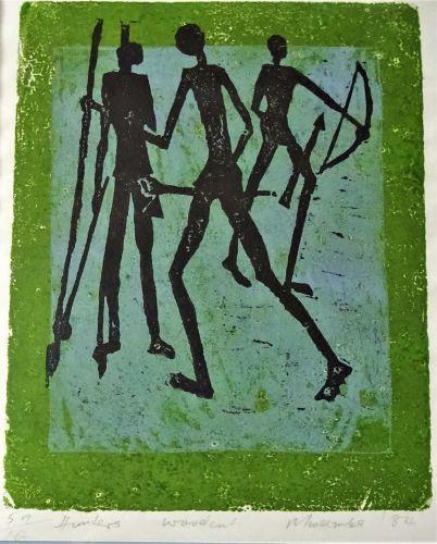 Hunters, woodcut, signed Mweemba. Limited Edition 5 of 10, 1984.