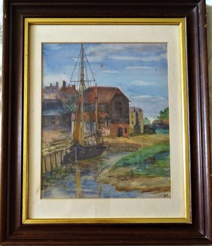 Working cargo at River Witham Wharf, Boston, watercolour on artist's board,