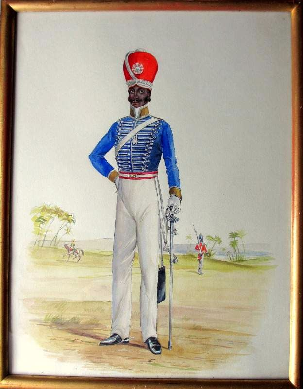 Moore, R.D. Infantryman, 32nd Regiment Madras c1885, watercolour and gouache, c1925.