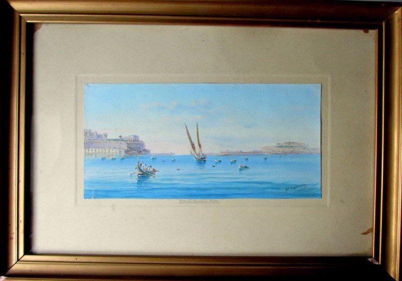 Grand Harbour, Malta, D'Esposito, gouache, c1900.
