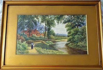 Chobham Surrey, riverside landscape with figure, watercolour, signed C.E. Donner 1924. Original frame.