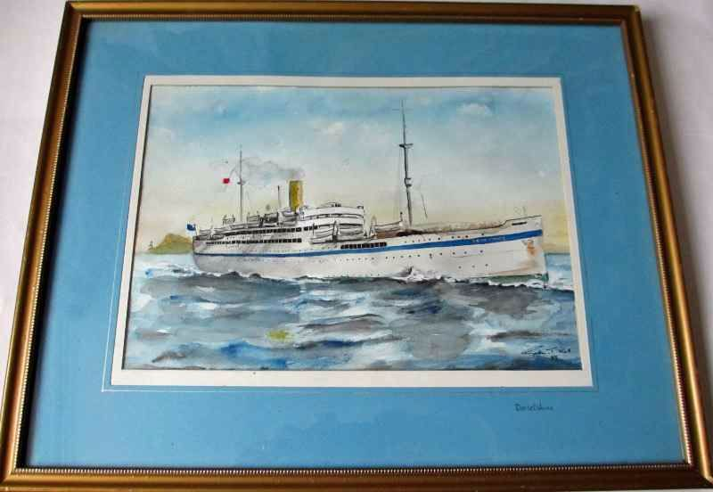 Bibby Line, HMT Dorsetshire, watercolour, signed Gordon T. Kell. 1953.