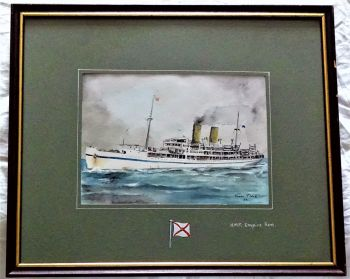 H.M.T. Empire Ken, pen, ink and watercolour on paper, signed Gordon T. Kell, 1953. Framed.