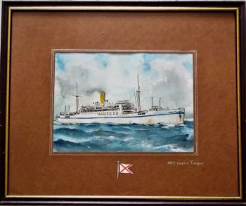 H.M.T. Empire Trooper at sea, pen, ink and watercolour on paper, signed Gordon T. Kell, & monogram GTK, dated 1953. Framed.  SOLD  06.08.2019.