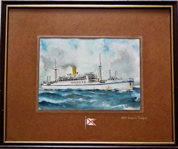 H.M.T. Empire Trooper at sea, pen, ink and watercolour on paper, signed Gordon T. Kell, & monogram GTK, dated 1953. Framed.