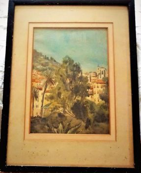 Portuguese hillside landscape, watercolour on paper, signed initials MH, c1900. Original frame.