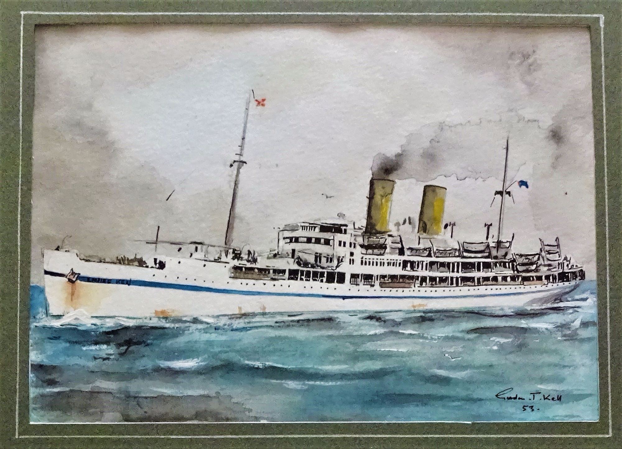 HMT Empire Ken, watercolour, signed Gordon T. Kell, 1953.
