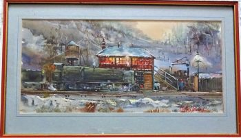 Steam Locomotive taking Water in Winter near Derby, watercolour on paper, signed Michael Crawley, c1960. Framed.