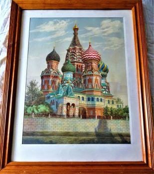St. Basil's Cathedral, Red Square, Moscow, watercolour drawing on paper, signed, titled, dated N. Popov 1991.