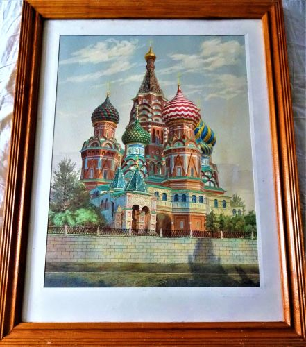 St. Basil's Cathedral, Red Square, Moscow, watercolour drawing on paper, si