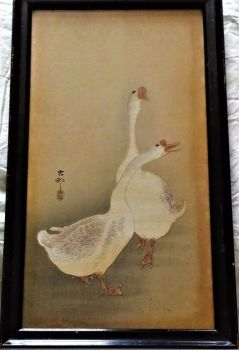 Chinese Geese, mixed media on silk, signed Ohara Shoson Koson. Original frame. c1912.