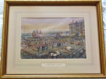 Derby Cattle Market, watercolour on paper, titled and signed Michael Crawley, c1970. Framed.