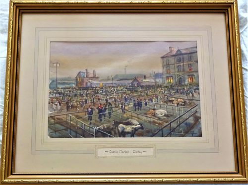 Derby Cattle Market, watercolour on paper, titled and signed Michael Crawle