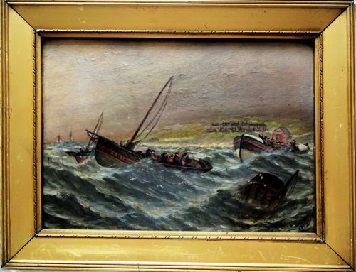Sunderland Lifeboat aiding fishing boats in heavy seas, oil on board, signe