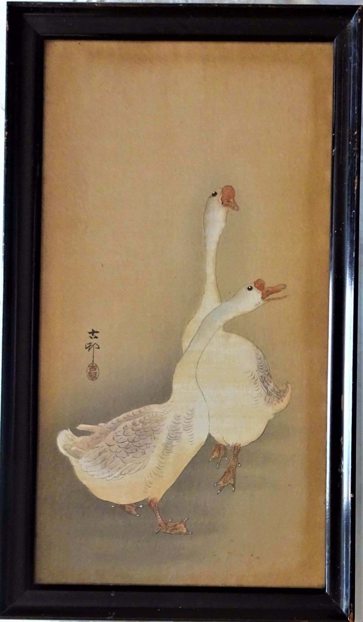 Woodblock, Japan, Chinese Geese, on silk, signed Shoson Ohara, c1912.