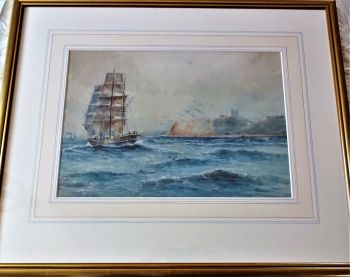 Sailing Ship in North Bay Scarborough, watercolour on paper, signed Austin Smith 1920. Framed.