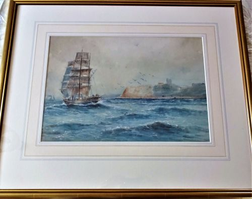 Sailing Ship in North Bay Scarborough, watercolour on paper, signed Austin