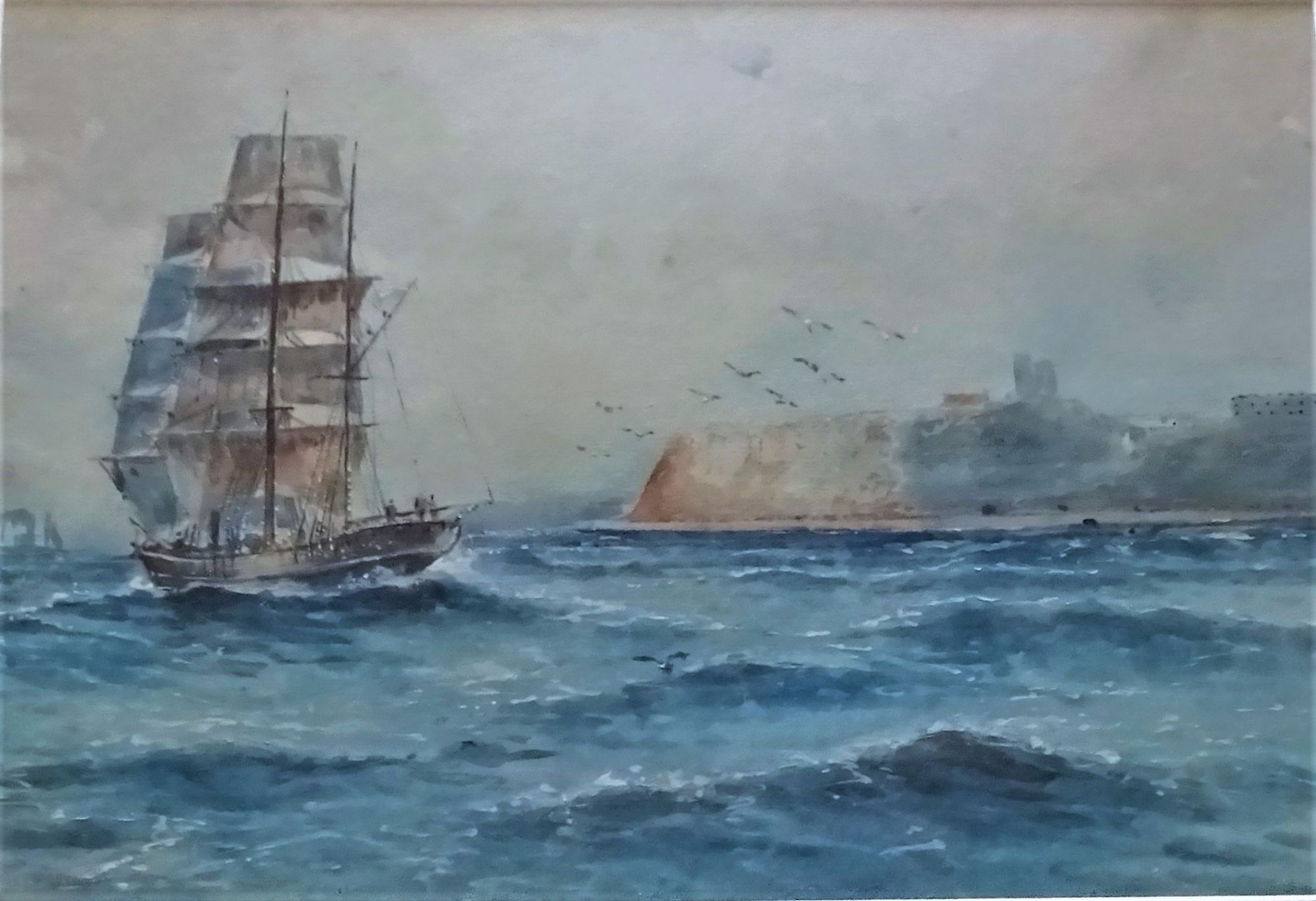 Austin Smith, Sailing ship in Scarborough North Bay watercolour 1920