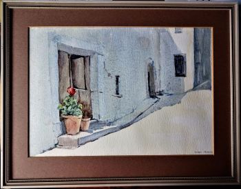 Geraniums on doorstep in Spain, watercolour on paper, signed Doris Petter, c1975. Unglazed frame.
