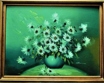 Still-Life study of Michaelmas Daisies in Bowl, impasto oil on canvas, signed Alice, c1980. 20thC British School.