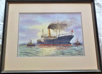 Tramp Steamer arriving Hull with Tugs, watercolour on paper, signed A. Smith 2001. Framed.