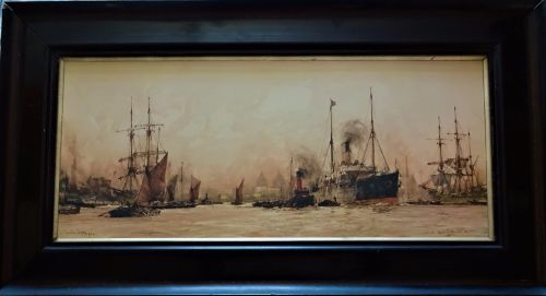 Above Greenwich, Charles Dixon, colour lithograph of watercolour signed Cha