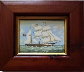 Adventurer in Full Sail, 1872, gravure print. Edwardian Miniatures, Art Marketing. c1980. Framed.