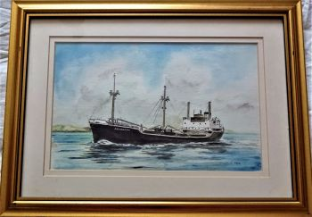 mv Arlington, Stephenson Clarke Shipping Ltd., coaster, watercolour, signed Gordon T. Kell, c1978. Framed.