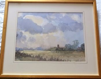 Norfolk village scene on stormy summer day, watercolour on paper, signed Hipkiss, c1980. Framed.