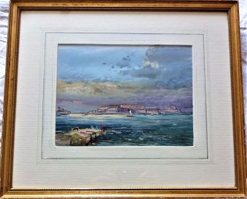 Stormy Sky at Dusk, Grand Harbour Valletta, Malta, watercolour signed Micha