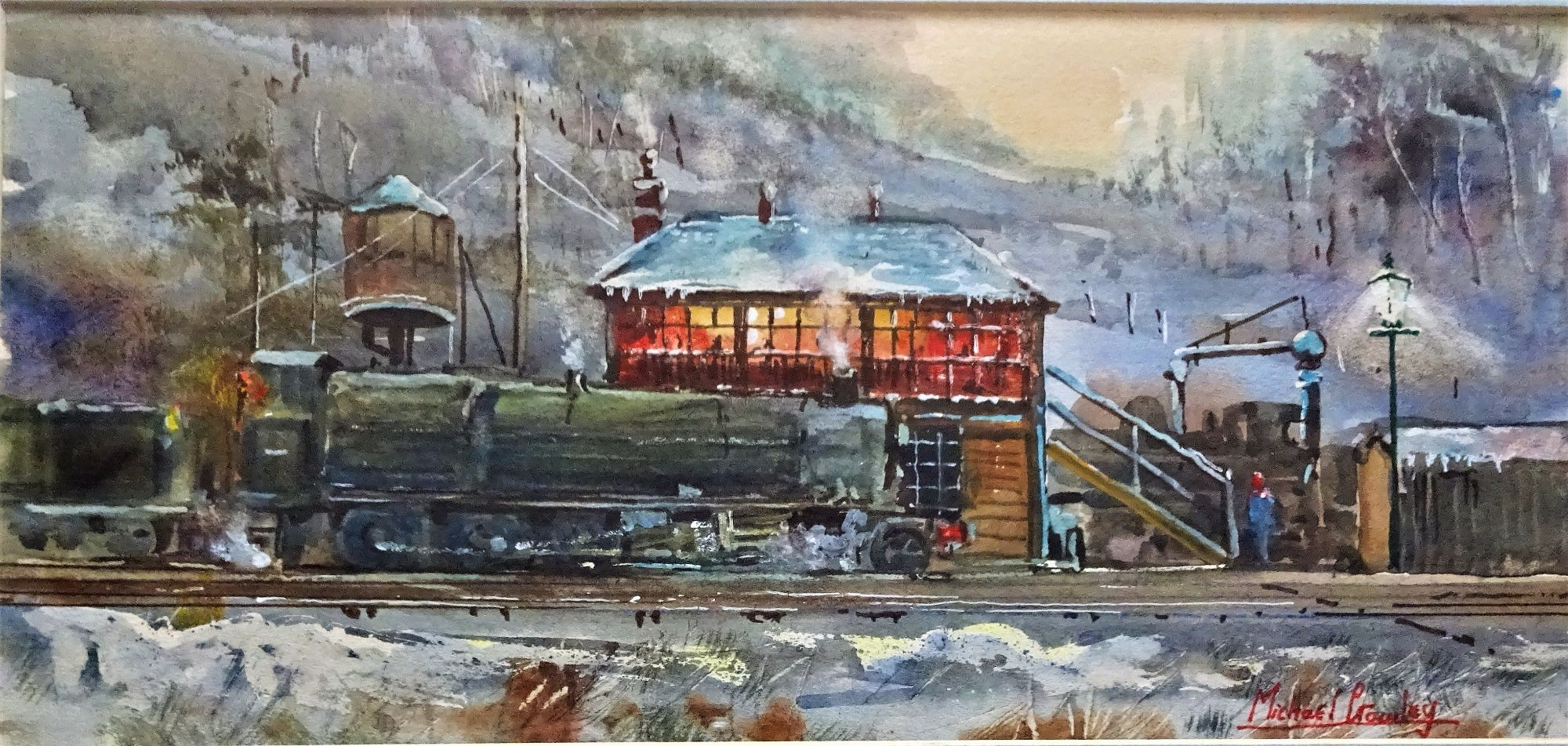 Michael Crawley, Steam Locomotive taking Water, watercolour, c1960.